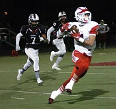 PAMPLIN MEDIA GROUP: DAN BROOD - Thomas Rudinsky looks to turn the corner for the Lincoln Cardinals in their state quarterfinal at Sherwood on Friday night.
