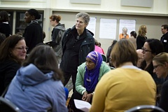 TRIBUNE PHOTO: JONATHAN HOUSE - Portland Public Schools Superintendent Carole Smith listens to concerned parents at a North Portland meeting this week.