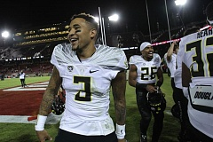 TRIBUNE PHOTO: JAIME VALDEZ - The end of a short era is approaching: Vernon Adams Jr.'s one-year run (minus games missed due to injury) as Oregon Ducks quarterback.