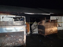 COURTESY TUALTAIN VALLEY FIR & RESCUE - Fire damaged a garage area where recycling bins were stored at a Beavrton apartment complex Saturday.