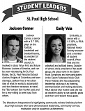 SUBMITTED - Jackson Connor and Emily Vela are this week's student leaders.
