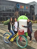 SUBMITTED PHOTO - From left, Jaclyn, Najla and Hannah Deeb stand out front of Google Headquarters.