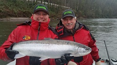 CONTRIBUTED PHOTO: JACK GLASS - Jack Glass and his son Brandon Glass operate Team Hook-up, a fishing guide company on the Sandy River. This season has already been stellar, including this catch in early January.