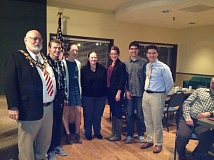 PHOTO COURTESY: GINNY VAN LOO - Pictured from left are Elks Exalted Ruler Jim Knauff; Jared Bott; Heather Loughridge; Elks Scholarship Chair Karma McDowell; Leah Olson; Hunter Teel and Maurice Harbick.
