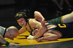 TRACIE KRELLWITZ - West Linn's Ethan Long had the lone pin for the Lions in last week's dual meet with Canby.