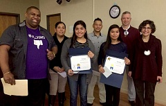 COURTESY PHOTO - Forest Grove Rotarys January students of the month Catherine Ruado and Mayra Pantoja Palomins pose with Forest Grove School District Superintendent Yvonne Curtis and Rotary members.