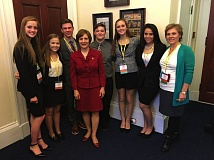 PHOTO COURTESY OF TUALATIN TOGETHER - Students from StandUp Tualatin pose with Rep. Suzanne Bonamici, fourth from left, and Tualatin Together Executive Director Cyndy Hillier, right.