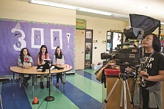 HILLSBORO TRIBUNE PHOTOS: CHASE ALLGOOD - Three Orca Live alumni serve as the anchors for the the 300th broadcast of the Orenco Elementary School production.