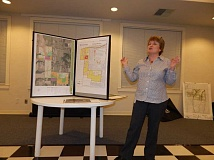 BARBARA SHERMAN - Tigard City Engineer Lori Faha talks about the River Terrace development on Bull Mountain at the Feb. 22 meeting of CPO 4K (Citizen Participation Organization - King City) at the Highlands Clubhouse.