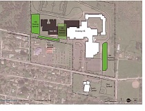 MRSD - An architect's conceptual drawing gives an idea of how a shared campus for Molalla's middle and high schools would look, should voters pass the school improvement bond in the May election. The middle school (dark gray) would replace some parking , but new and additional parking (in green) would be created on campus. Both schools would have separate entrances and hallways.