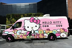 COURTESY PHOTO - The bright pink Hello Kitty Cafe Truck, operated by Sanrio, made its first visit to the Portland area last November. It is returning to Bridgeport Village on May 7.