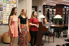 TIDINGS PHOTO: PATRICK MALEE - Sarah Tinio, Emily Hamel, Taylor Bosson were the first to sing in front of the crowd April 20.
