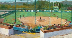 COURTESY OF SUSAN KUZNITSKY - Kuznitsky captured classic Alpenrose Dairy scenes in her series, such as this painting of a softball game.