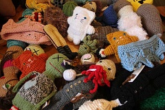 CONNECTION PHOTO: KELSEY O'HALLORAN - Renne and Cook combine their knitted and crocheted products at local craft shows as 'Bobbin and Funk.'