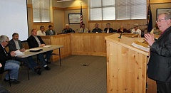 JASON CHANEY - Mike O'Herron, co-chair of the Public Safety Facility Advisory Committee, addresses the Crook County Court and Prineville City Council in a joint work session on Tuesday afternoon.