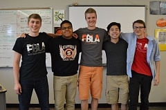 SPOTLIGHT PHOTO: NICOLE THILL - Mark Morud, Victor Nieves-Garcia, Beau Groom, Nathaniel Nguyen and James Brady will represent the Scappoose Future Business Leaders of America chapter during the national competition in June. The boys will spend four days competing against 11,000 other students.