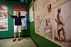 TIMES PHOTO: JAIME VALDEZ - Linda Hill, a staff educator at the Washington County Museum, describes how the Tualatin Indians lived in Washington County.