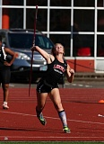 TRIBUNE PHOTO: JONATHAN HOUSE - Colette Jesson, a junior at Lincoln High, captures the PIL girls javelin title on Wednesday, throwing 112 feet, nine inches. Madison sophomore Kelvine Kabale was second at 111-8.