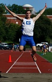 TRIBUNE PHOTO: JONATHAN HOUSE - Senior Harrison Schrage of the Grant Generals flies to first place in the PIL triple jump during Wednesday's district meet at Lincoln.