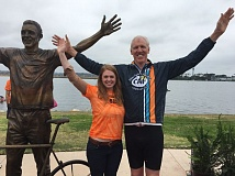 COURTESY: DUGAN STRATEGIC MARKETING - Bill Walton (right) and sculptor Alison Brown pose by the statue she created of the NBA great.