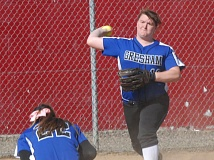 THE OUTLOOK: PARKER LEE - Greshams Brittani Compton fires a throw across the infield over the top of ducking pitcher Shianne Smith in the Gophers 3-0 win over David Douglas on Monday.