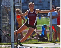 DAN BROOD - Sherwood High School sophomore Shelby Moran set a new Three Rivers League district meet record with this throw of 152-6 during action Friday at the league championships.
