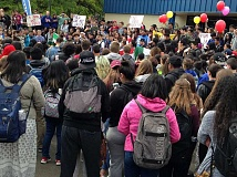 HILLSBORO TRIBUNE PHOTO: KATHY FULLER - Several students at Hilhi walked out of class this morning to show solidarity with Forest Grove High School students, who did the same.