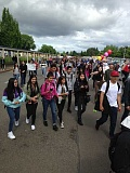 HILLSBORO TRIBUNE PHOTO: KATHY FULLER - Hilhi students march in solidarity with Forest Grove High students. An estimated 1,000 students marched in Forest Grove today to call attention racial tensions within the school.