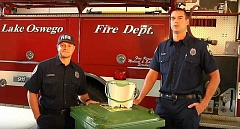SUBMITTED PHOTO - LOFD Lt. Paul Lauritzon and Driver/Engineer Andy Owens star in a video that introduces the City's new residential organics pickup service. The video is online at https://youtu.be/IJ1CqX8U7jM.