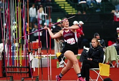 DAN BROOD - Sherwood High School senior Payge Cuthbertson is about to let the javelin fly Friday at the state meet.