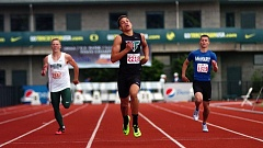 DAN BROOD - Tigard High School sophomore Braden Lenzy (center) is first across the finish line in the 400-meter dash Saturday at the Class 6A state meet.