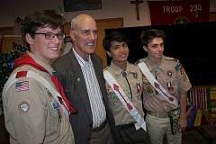 SUBMITTED PHOTO: DAN CLARK - During a May 22 ceremony at Our Lady of the Lake Catholic Church, newly minted Eagle Scouts enjoy a moment with a local leader. From left: Thomas Foy, Mayor Kent Studebaker, Jed Garcia and Kevin Miles.