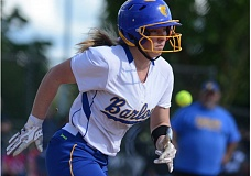 THE OUTLOOK: DAVID BALL - Barlows Katie Ostgarden looks to out run an infield hit during Mondays 1-0 playoff win over Roosevelt.