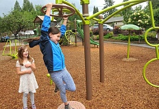 REVIEW PHOTO: VERN UYETAKE - George Rogers Park features one of Lake Oswego's newest playgrounds, built in 2014.