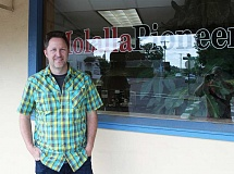 JIM BESEDA / MOLALLA PIONEER - Morgan Philpot, the lead attorney for Ammon Bundy, stopped by the Molala Pioneer office Wednesday afternoon. Philpot used to be a paperboy for the Pioneer while he was growing up in Molalla.