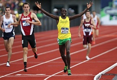 TRIBUNE PHOTO: DAVID BLAIR - Edward Cheserek of the University of Oregon wins the 5,000 meters Friday during the final day of the NCAA men's track and field championships at Hayward Field.