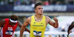 COURTESY: GODUCKS.COM - Devon Allen of the Oregon Ducks wins his second NCAA 110-meter hurdles title, beating the field Friday at Hayward Field.