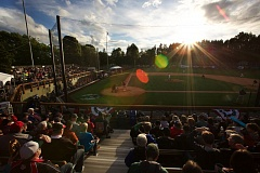 TRIBUNE PHOTO: JAIME VALDEZ - The sun is about to set at Walker Stadium on Friday as the Portland Pickles play their first home game.