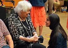 SPOKESMAN PHOTO: JAKE BARTMAN - Princess Emily Jayne, a senior at St. Mary's Academy in Portland, visited with SpringRidge at Charbonneau residents June 7.