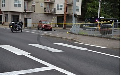SUBMITTED PHOTO: GRESHAM POLICE DEPARTMENT - A maroon 2001 Dodge Durango (center) struck a pedestrian near the 172nd Ave. MAX stop around 6:10 p.m. Monday.