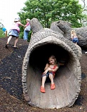 COURTESY PHOTOS - Playgrounds that employ natural features such as hollow logs, stick forts, boulders, tree stumps and more are becoming more popular. In Forest Grove they could be installed at any one of a number of parks, including Forest Glen, Thatcher, Bard, Hazel Sills, Joseph Gale, Knox Ridge, Rogers or Talisman.