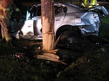 SUBMITTED PHOTO - A bad crash in the early morning hours of Saturday, June 18, in Forest Grove trapped 25-year-old Baron Bryant of Beaverton in his car for more than an hour.