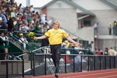 TRIBUNE FILE PHOTO - Sam Crouser won two NCAA javelin titles while an Oregon Duck.
