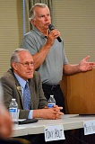 SPOKESMAN PHOTO: JAKE BARTMAN - Wilsonville Mayor Tim Knapp, left, and Charbonneau Golf Club, Inc., treasurer Lee Zinsli spoke at the Charbonneau Today and Tomorrow forum June 16.