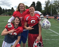 TRIBUNE PHOTO: RYAN CLARKE - Lincoln High players suiting up this week for the North in the annual Les Schwab Bowl are (from left) Blake Long, Tom Laverde and Michael Angyus. The North-South rivalry resumes at 5 p.m. Saturday at Hillsboro Stadium.