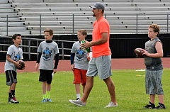 SPOTLIGHT PHOTO: JAKE MCNEAL - Carolina Panthers quarterback and one-time Scappoose Class 3A state champion Derek Anderson hosted the Derek Anderson Football Camp with Panthers teammate and former Indians linebacker David Mayo on Saturday, June 18, at Scappoose High.
