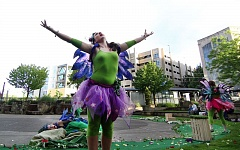 PAMPLIN MEDIA GROUP: MILES VANCE - Titania (Sara Fay Goldman) sleeps while her fairies dance in Experience Theatre Project's production of 'A Midsummer Night's Dream' at The Round in Beaverton on Friday, June 24.