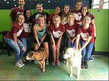 COURTESY OF BILL BRAND - Students from Sherwood Highs Bowmen for the Ethical Treatment of Animals helped wash dogs in May to raise money for the Newberg Animal Shelter