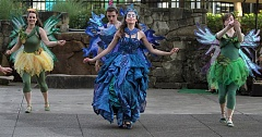 TIMES PHOTO: MILES VANCE - Titania (Sara Fay Goldman) and her fairies dance into the scene in Experience Theatre Project's production of 'A Midsummer Night's Dream' at The Round in Beaverton on Friday.