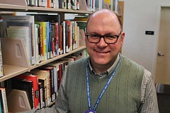 CONNECTION PHOTO: KELSEY O'HALLORAN - Jay Hadley is the new manager of the Hillsdale Library. He started his library career eight years ago as a page at Midland Library.